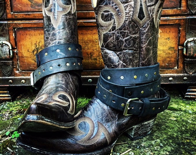 OLD WEST BOHEMIAN ~ Vintage Genuine Leather Adjustable Layered Boot Belts in Black with Brass & Silver Studs ~ Sold as a Pair/Ready to Ship