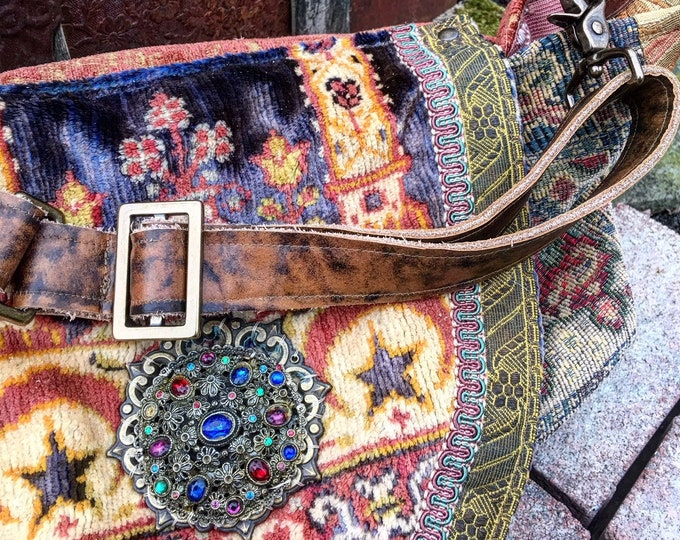 Bohemian Treasure Shoulder Bag ~ Large Exotic Slouch Purse with Genuine Leather, Overnight Tote, Festival Bag  ~ Ready to Ship