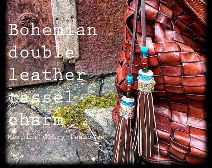 Bohemian Carnival Double Leather Tassel Bag Charm for Your Shoulder Bag or Tote, Genuine Leather, Handbag Accessory - Ready to Ship