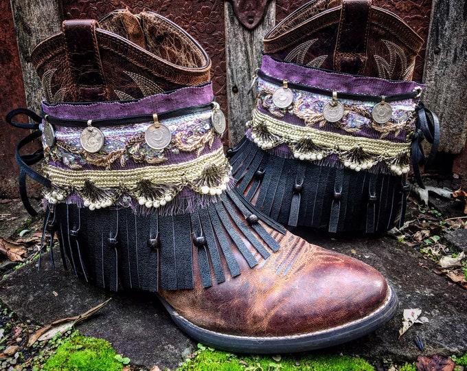 Bohemian Pandora Treasure Boot Wraps, Boot Jewelry, Genuine Leather, Wearable Fabric Art, Magical Boho Treasure, Sold as a pair