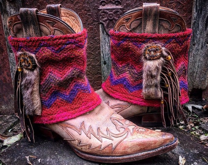 Bohemian Mini Boot Sweaters, Mongolian Faux Fur, Leather Fringe, Boot Cuffs, Boot Toppers, Boot Accessories // Ready to Ship