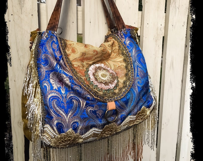 """Bohemian Pandora Treasure Bag, Hobo Shoulder Slouch Bag, Exotic Cross Body Tote, Large Purse with Leather Accents, 12"""" x 15""""- 18"""" x 4"""""""