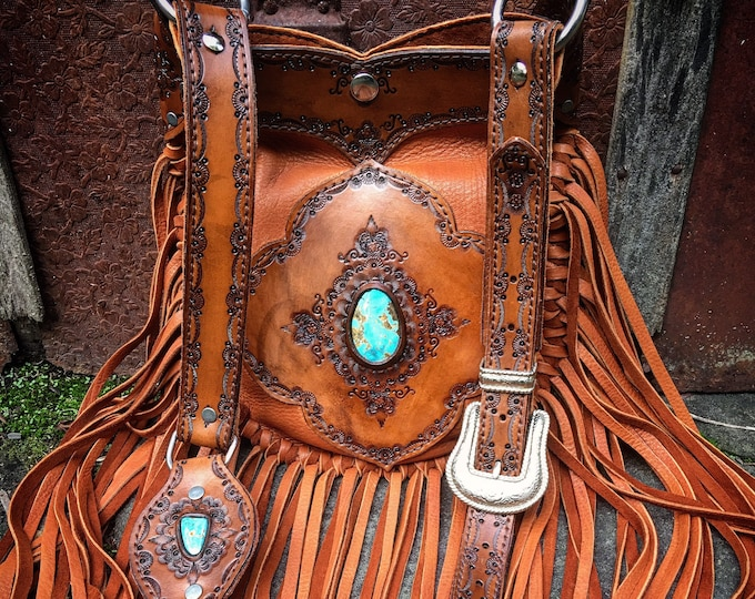 Bohemian Fringe Mandala Bag in Tobacco Brown Deerskin Leather with Sierra Nevada Turquoise, Gypsy Cowgirl, Country Western, Hand Tooled Bag