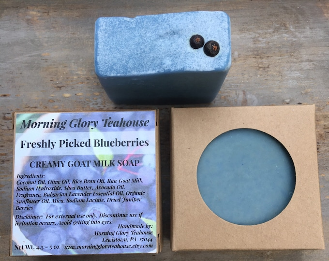 Freshly Picked Blueberries Goat Milk Soap - Palm Free - Handmade Soap by Morning Glory Teahouse - Cold Process Soap, 4.5 - 5 oz bar