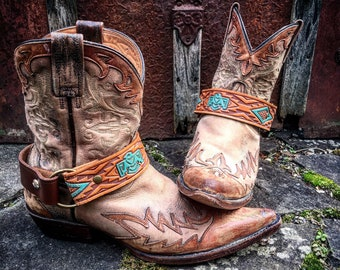 OLD WEST Bohemian Tribal Leather Boot Straps, Handcrafted Boot Harnesses // Ready to Ship