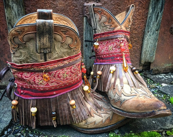Bohemian Treasure Boot Wraps, Swarovski Crystals, Gold Bullion, Genuine Leather, Wearable Fabric Art, Boho Treasure ~ Red Wine, Amber & Gold