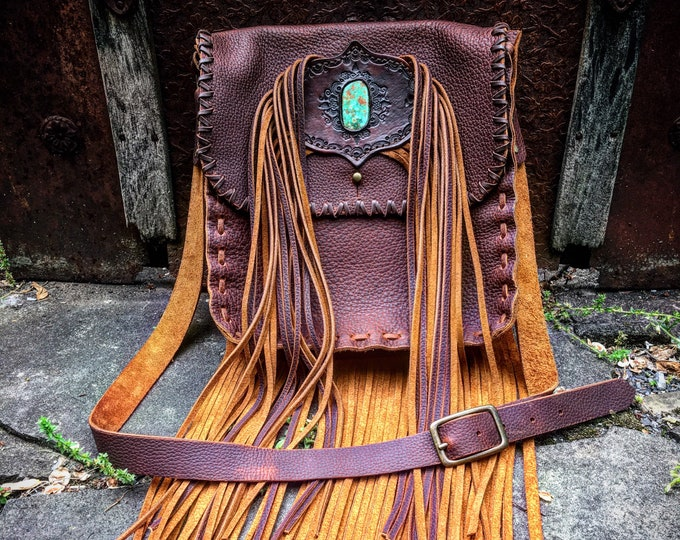 """Juniata Leather Fringe Purse with High Quality Turquoise Stone Inlay, Leather Cross Body Bag, Large Leather Hip Pouch, 10""""L x 10""""W x 3""""D"""