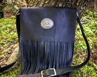 "Black Leather Fringe Purse with Silver Concho, Country Western Crossbody Bag, Gypsy Cowgirl Shoulder Bag, Leather Biker Bag, 8""L x 8""W x 2""D"