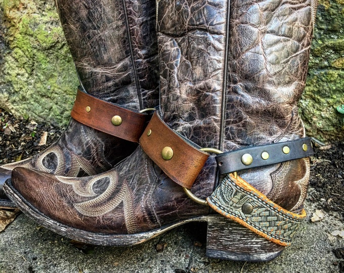 OLD WEST Cognac, Grey & Black Veg Tanned Leather Boot Straps, Country Western, Handmade Boot Harnesses // Ready to Ship
