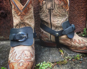 Women's OLD WEST Genuine Leather Boot Straps, Premium Black Pebbled Cowhide Leather, Gypsy Cowgirl, Country Western / Ready to Ship