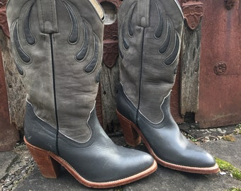 Vintage Frye Leather Cowgirl Boots, Women's US Size 7, Wood-stacked Heel ~ Ready to Ship