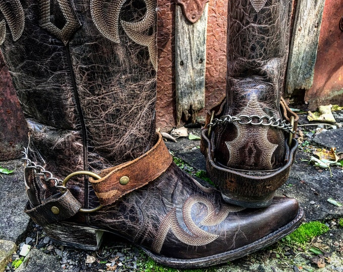 OLD WEST Distressed Tan & Dark Brown Veg Tanned Leather Boot Straps, Country Western, Handmade Boot Harnesses // Ready to Ship