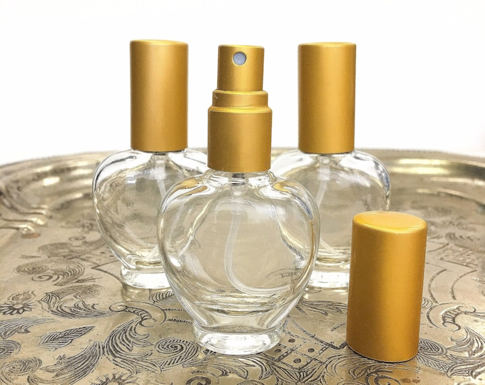 SET OF 3 Clear Glass Refillable Perfume Bottles with Matte Gold Fine Mist Sprayers and Caps / 9 ml (1/3 ounce)
