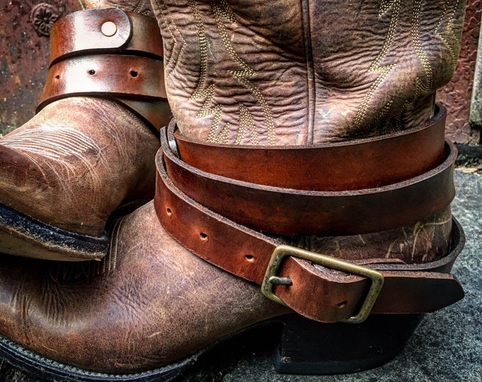 "Rustic OLD WEST Genuine Leather Boot Straps in Rich Saddle Brown, 53"" Long, Adjustable, Layered Belt Look, Unisex, Sold as a Pair"