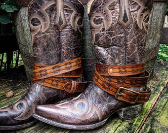 "OLD WEST Genuine Hand Tooled Leather Boot Straps in Rich Medium Brown, 52.5"" Long, Adjustable, Layered Belt Look, Unisex, Sold as a Pair"