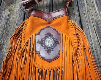 "Mandala Suede Leather Fringe Crossbody Bag with Silver Concho, Gypsy Cowgirl, Country Western Bag, Hand Tooled Leather, 9.5"" x 11.5"""
