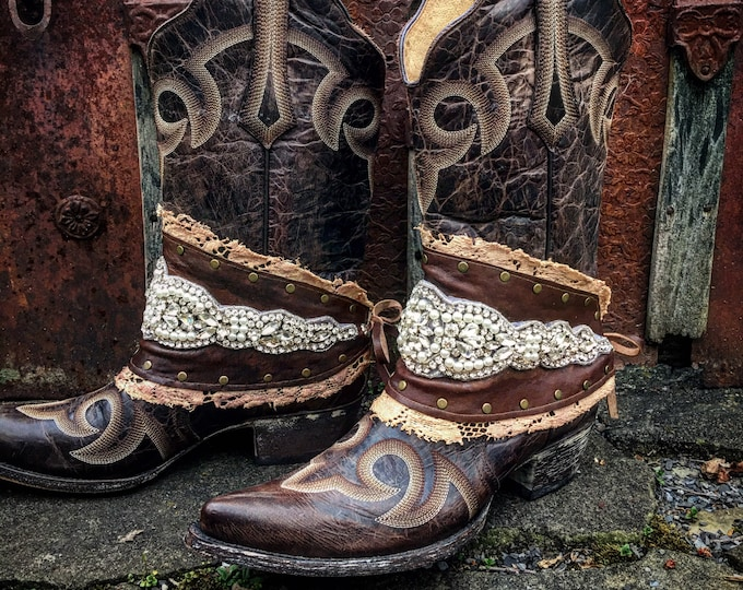 Gypsy Cowgirl Boot Wraps, Boot Jewelry, Genuine Leather, Antique Tattered Lace, Rhinestones, Wearable Fabric Art, Magical Boho Treasure
