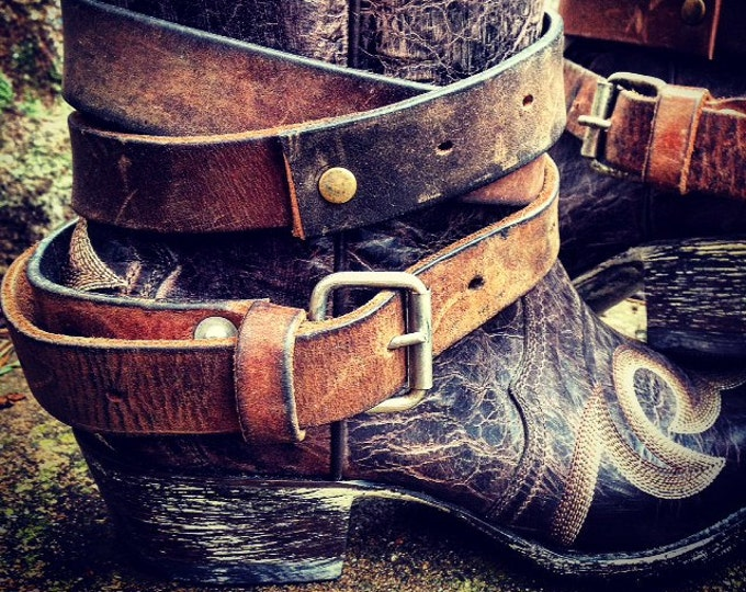 Distressed Rustic Brown OLD WEST Vintage Genuine Leather Adjustable Layered Boot Belts, One Pair - 2 Extra Long Boot Straps ~ Made to Order