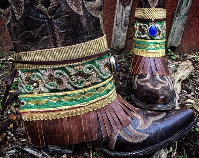 Bohemian Pandora Treasure Boot Wraps, Boot Jewelry, Genuine Leather, Wearable Fabric Art, Magical Boho Treasure