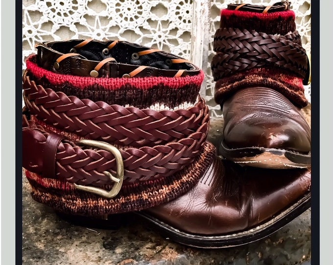 Fair Isle Mini Boot Sweaters with Woven Leather Belts, Boot Accessories ~ Sold as a Pair