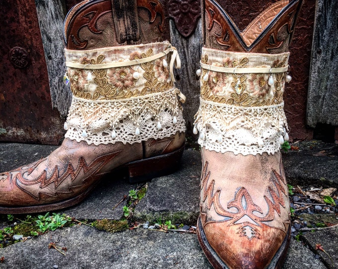 Bohemian Treasure Boot Wraps, Vintage Lace, Swarovski Crystals, Pearls, Cream, Gold & Champagne, Wearable Fabric Art, Boot Jewelry