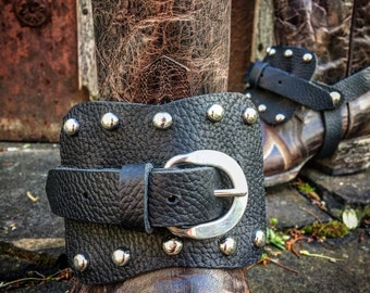 Women's OLD WEST Genuine Leather Boot Straps, Thick Black Pebbled Cowhide Leather, Country Western, Steampunk, Biker, Pirate / Ready to Ship