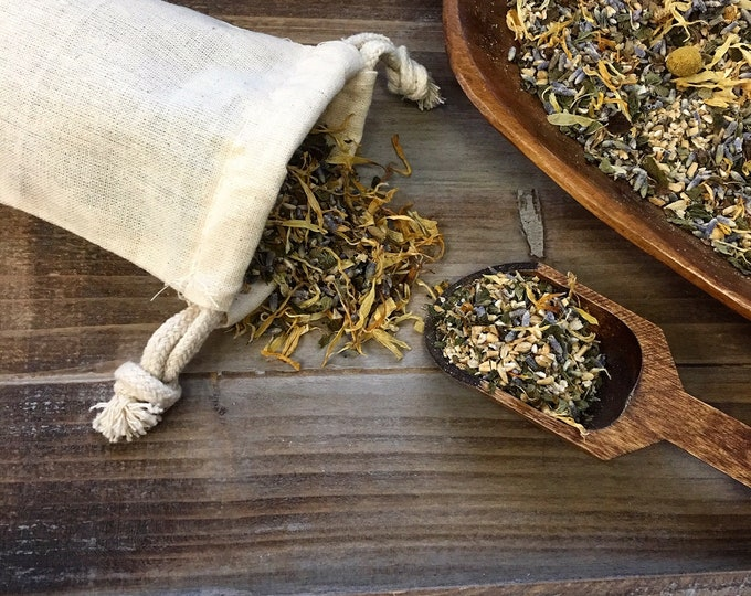 Botanical Bath / Bathing Herbs / Bathing Tea with Herbal Washcloth / All Natural / Organic / Soothing & Comforting / 8 oz Blend