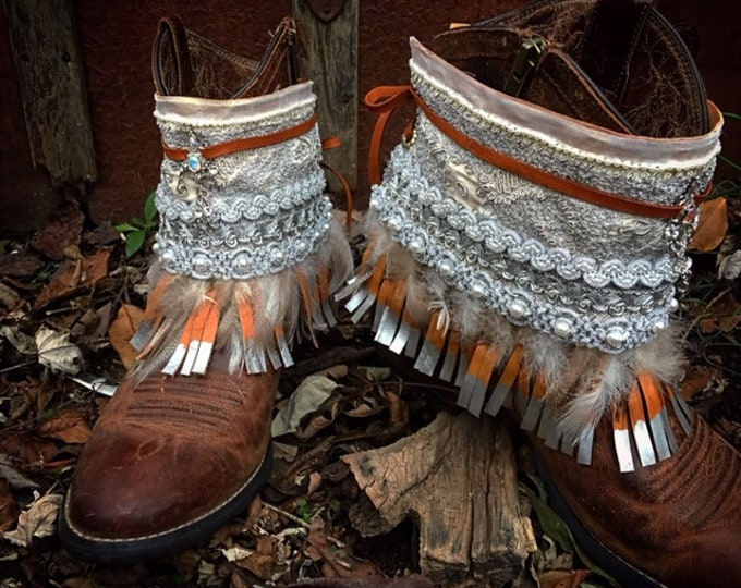 Bohemian Jeweled Boot Wraps in Platinum & Cream, Gypsy Cowgirl, Genuine Leather Fringe, Wearable Fabric Art, Magical Treasure