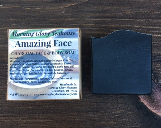 Amazing Face Charcoal Soap, Fragrance-Free Face and Body Soap - Palm Free - Handmade Cold Process Soap, 4.5 - 5 oz bar