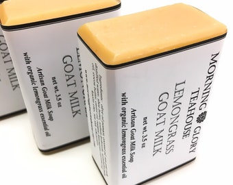 Lemongrass Goat Milk Soap, Organic Lemongrass Essential Oil, Luxurious Silky Lather, Great for Sensitive Skin, All Natural Handcrafted Soap
