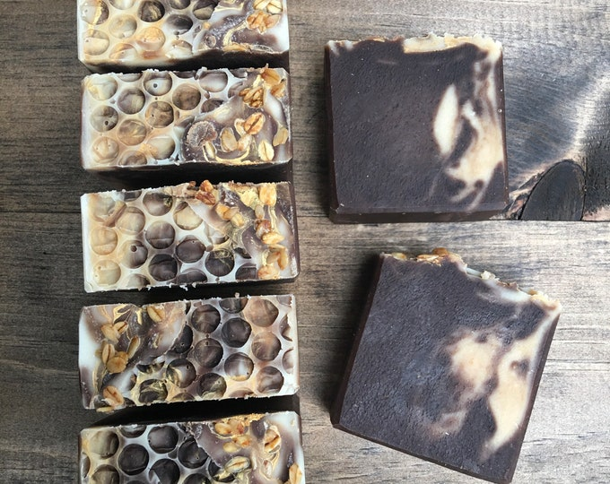 Honey Oatmeal Cookie Goat Milk Soap - Palm Free - Handmade Soap by Morning Glory Teahouse - Cold Process Soap, 4.5 - 5 oz bar