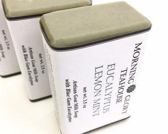 Eucalyptus Lemon Mint Goat Milk Soap, Australian Blue Gum Eucalyptus, Italian Lemon & Spanish Spearmint Essential Oils, Activated Charcoal