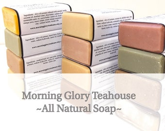 CHOOSE TWO BARS ~ All Natural Handmade Soap by Morning Glory Teahouse, Cold Process Soap, Pure Essential Oils, Natural Colorants & Additives