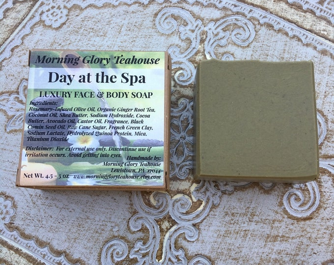 Day at the Spa Luxury Face and Body Soap - Palm Free - Handmade Soap by Morning Glory Teahouse - Cold Process Soap, 4.5 - 5 oz bar