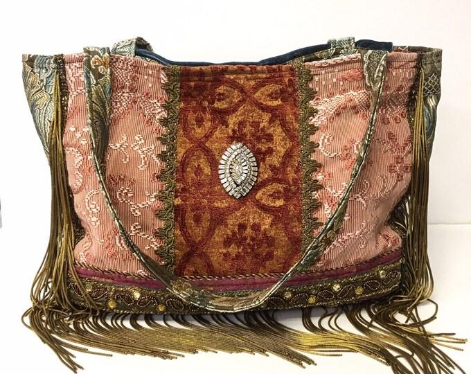 """Ancient Bohemian Bag ~ Large Shoulder Bag/Tote, Antique & Vintage Fabrics, Antique French Trim, Metallic Gold Bullion, 19"""" x 12"""""""