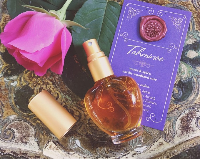 TAHMINAE Botanical Eau de Parfum~ Warm & Spicy, Earthy Woodland Bulgarian Rose, Raspberry Fruit and Leaf ~ Exotic All Natural Fragrance