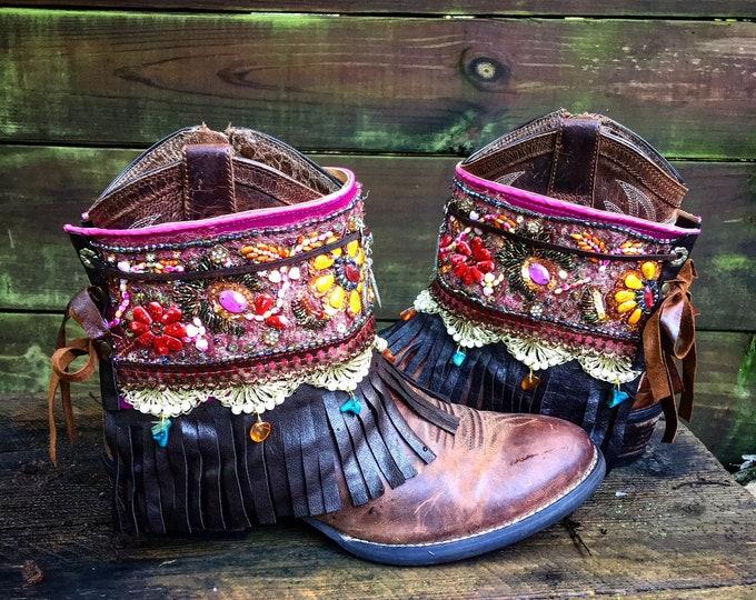 Custom Order for Jody - Bohemian Pandora Treasure Boot Wraps, Boot Jewelry, Genuine Leather, Wearable Fabric Art, Magical Boho Treasure