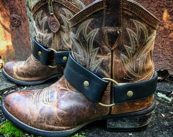 OLD WEST Bohemian Black Leather Boot Straps, Handcrafted Boot Harnesses // Ready to Ship