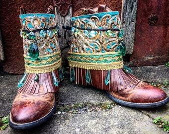 Bohemian Pandora Treasure Boot Wraps, Boot Jewelry, Genuine Leather, Wearable Fabric Art, Magical Boho Treasure, Renaissance-Style