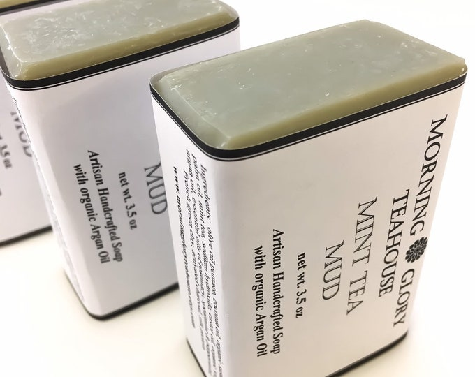 Mint Tea Mud Soap with Argan Oil, Rosemary, Spearmint & Peppermint Essential Oils, French Green Clay, Mint Tea, Refreshing Spa Treatment