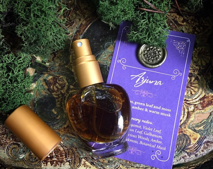ARJUNA Botanical Eau de Parfum~ Bergamot, Green Leaf & Moss over Precious Woods, Smoky Amber, Vanilla and Warm Musk  ~ All Natural Fragrance