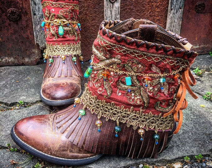 Leather BOHEMIA Western Boots ~ Bohemian Gypsy Indie Boots, Genuine Amber & Turquoise Beads, Swarovski Crystals, US 8.5 M ~ Ready to Ship