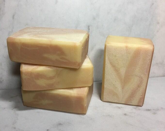 Geranium Bliss Swirled Milkmade Soap, Creamy Goat Milk, Luxurious Silk, Geranium & Pink Grapefruit Essential Oils, Rose Clay for Color