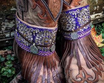 Bohemian Pandora Treasure Boot Wraps, Boot Jewelry, Genuine Leather, Wearable Fabric Art, Magical Boho Treasure