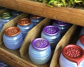 Botanical Solid Nature Perfume, SET OF THREE, Nature Fragrances in a mini violet jar, 2 grams each, All Natural