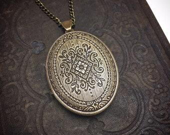 Solid Brass Embossed Perfume Locket Necklace ~ Victorian in Brass Ox ~ Made in the USA ~ Precious Keepsake, 19 inch Chain, Bail Included