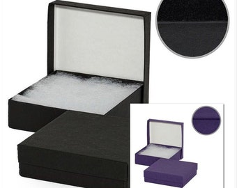 "25 Kraft Gift Boxes, Choose from Black or Purple, Jewelry Boxes, Candy Boxes with Insert / 3.5""L x 3.5""W x 2""H"