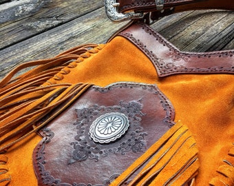 "Mandala Suede Leather Fringe Bag with Silver Concho, Gypsy Cowgirl, Country Western Crossbody Bag, Hand Tooled Leather, 9.5"" x 11.5"""