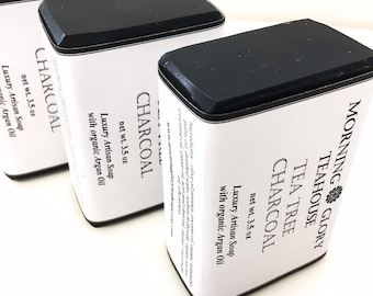 Tea Tree Charcoal Soap with Organic Argan Oil, Organic Tea Tree Essential Oil, Activated Charcoal, Luxurious Silky Lather, All Natural Soap
