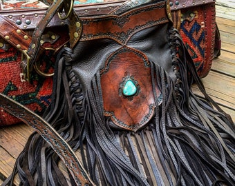 "Mandala Deerskin Leather Fringe Bag with Kingman Turquoise, Gypsy Cowgirl, Country Western Crossbody Bag, Hand Tooled Leather, 9.5"" x 11.5"""